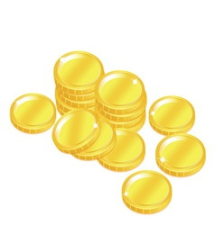 popular gold coin penny stack isolated background vector image