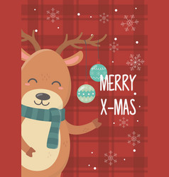 reindeer with balls celebration happy christmas vector image