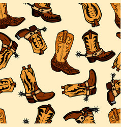 seamless pattern with cowboy boots design element vector image