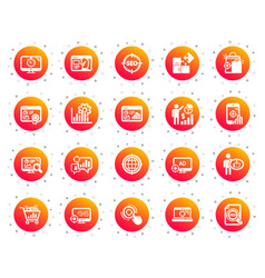 seo icons set increase sales business vector image