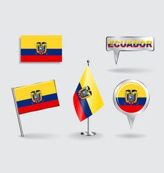 Set of Ecuadorian pin icon and map pointer flags vector