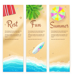 set of summer travel banners tropical landscape vector image