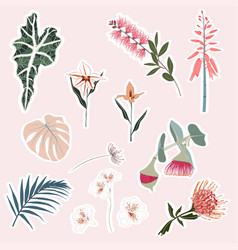 set tropical flowers and leaves elements vector image