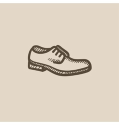Shoe with shoelaces sketch icon vector