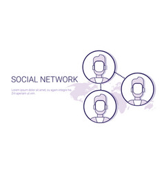 social network communication concept web banner vector image