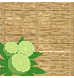 spa leaves and lime on wood surface vector image