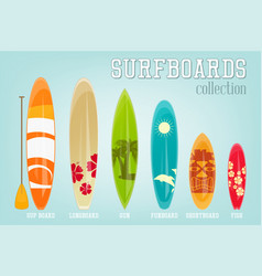 Surfboards collection vector