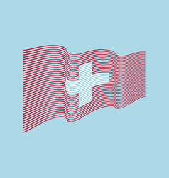 switzerland flag on blue background wave s vector image