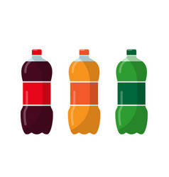 Three bottles with soda in plastic tarre vector