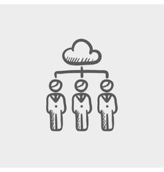 Three businessmen under the cloud sketch icon vector
