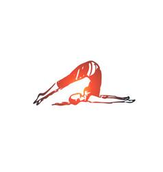 Tip over yoga pose asana balance concept hand vector