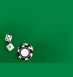Top view of white golden dice and chips casino vector