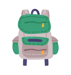 Tourist backpack outdoor hiking traveler object vector