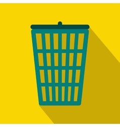 Trash basket icon flat style vector