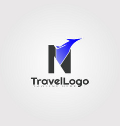 Travel agent logo design with initials n letter vector