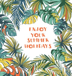 Tropical floral summer party poster with palm vector