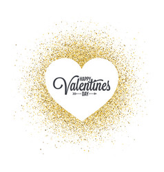 valentines day heart on golden glitter abstract vector image