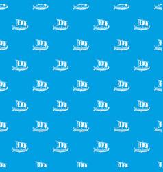 viking ship pattern seamless blue vector image
