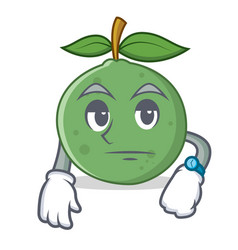 Waiting guava mascot cartoon style vector