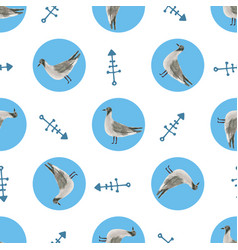 Watercolor sea gull seamless pattern hand drawn vector