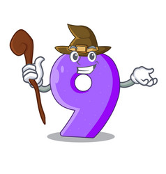 witch number nine balloon font shaped charcter vector image