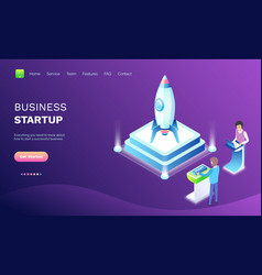 workers with laptop business startup web vector image