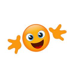 yellow emoji hug vector image