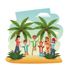 Young people in the beach jumping happiness vector