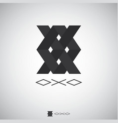 abstract box logo with letter x and o sign logo vector image