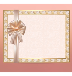 background with bow and gold ornament vector image