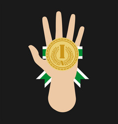 champion medal award in hand flat icon vector image