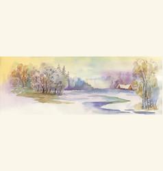 watercolor winter landscape vector image vector image