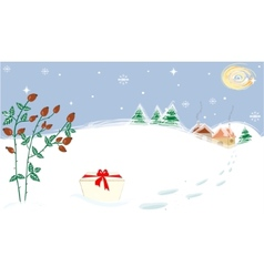 Winter Landscape Stars Moon Briar Present vector image