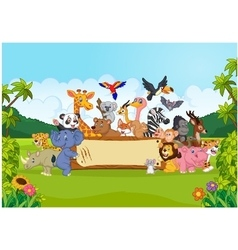 Cartoon wild animals holding banner vector image