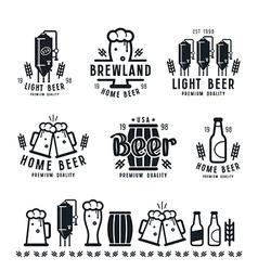 Craft beer brewery emblems barley vector