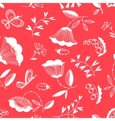 Decorative seamless background with flowers bugs a vector