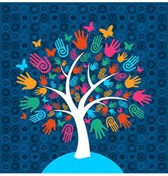 Diversity tree hands background vector image vector image