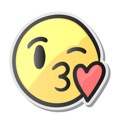 emoji kissing smiling face emoticon with kiss vector image vector image