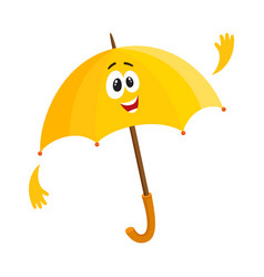 funny open umbrella character with smiling human vector image vector image