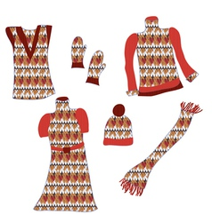 Knitted clothes with pattens for winter vector image