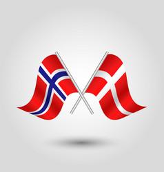 Two crossed norwegian and danish flags vector