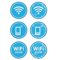 Wifi internet zone blue vintage labels set vector image
