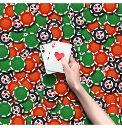Background of poker chips vector