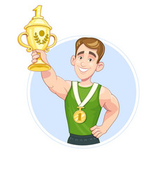 winner sportsman with cup vector image vector image