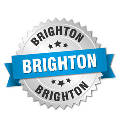 brighton round silver badge with blue ribbon vector image