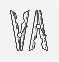 clothespins hand drawn sketch icon vector image