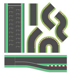 Formula race track line set vector