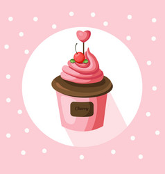strawberry cupcake muffin vector image vector image