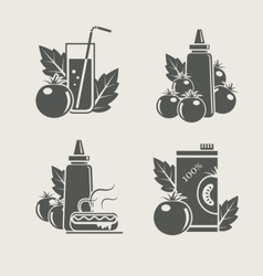 tomato products set icons vector image vector image