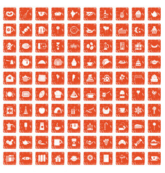 100 tea party icons set grunge orange vector